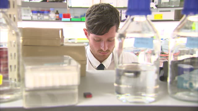 interior shots dr robin carhart harris at imperial collage london chemistry laboratory, scientist working in lab on march 05, 2015 in london, england. - acid stock videos & royalty-free footage