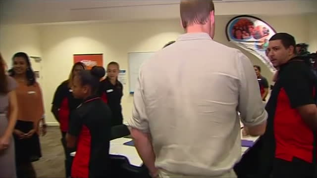 interior shots duke and duchess of cambridge enter room and speak with waiting staff members - 2014 stock videos & royalty-free footage