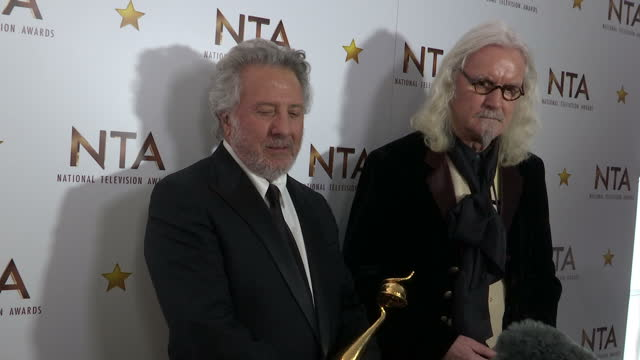 stockvideo's en b-roll-footage met interior shots dustin hoffman actor at the national television awards after presenting billy connolly with special recognition award talks about the... - billy connolly