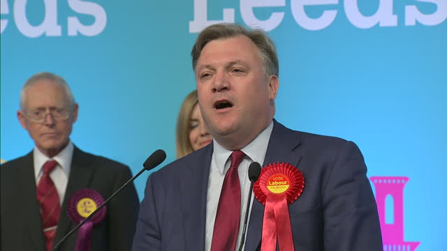 Interior shots Ed Balls Labour speech after losing seat to Andrea Jenkyns Conservative on May 08 2015