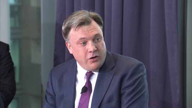 interior shots ed balls shadow chancellor answering question on labour plans for a 'mansion tax' on march 23 2015 in london united kingdom - チャンセラー点の映像素材/bロール
