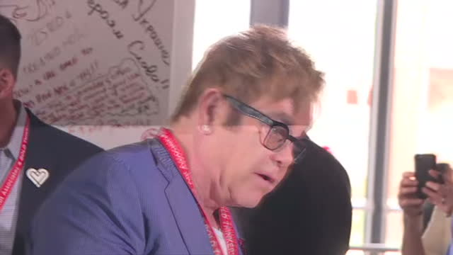 durban interior shots elton john speaking to press - hiv aids conference stock videos & royalty-free footage