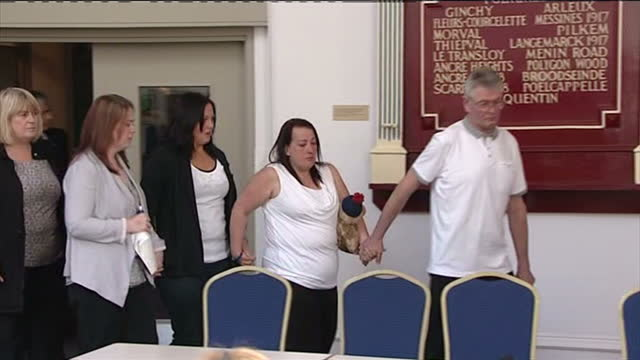 interior shots family of lee rigby walk into presser all visibly upset lee rigby tributes re woolwich murder on may 24 2013 in middleton england - lee rigby stock videos & royalty-free footage