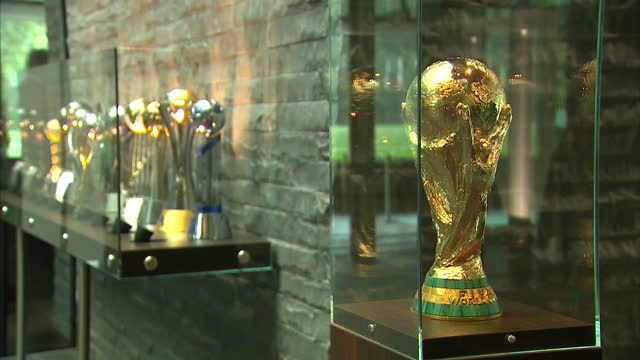 Interior shots FIFA World Cup trophy on display in glass case at the FIFA headquarters in Zurich Switzerland Fifa has formally begun the process of...