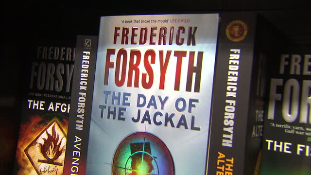 interior shots frederick forsyth books novels on shelf including the day of the jackal the fourth protocol the fist of god on august 30 2015 in high... - frederick forsyth stock videos & royalty-free footage
