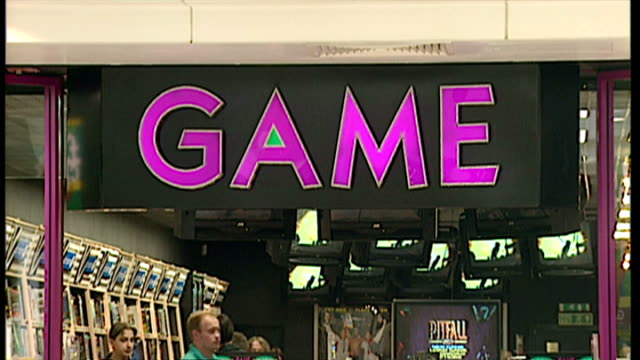 interior shots game video game store in shopping centre with shots of shop signage and shoppers in store on september 24 1998 in london england - sony stock videos & royalty-free footage