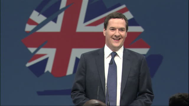 interior shots george osborne chancellor of the exchequer walks onto the stage at the conservative party conference 2013 george osborne unveiled... - chancellor of the exchequer stock videos and b-roll footage