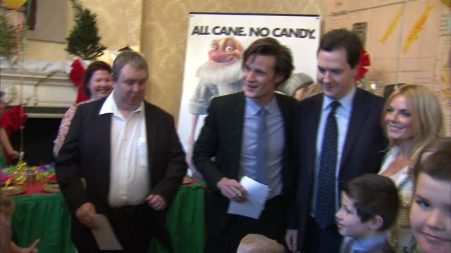 interior shots george osborne & doctor who actor matt smith pose for a photo call inside number 11 downing street with children matt smith & george... - doctor who stock videos & royalty-free footage
