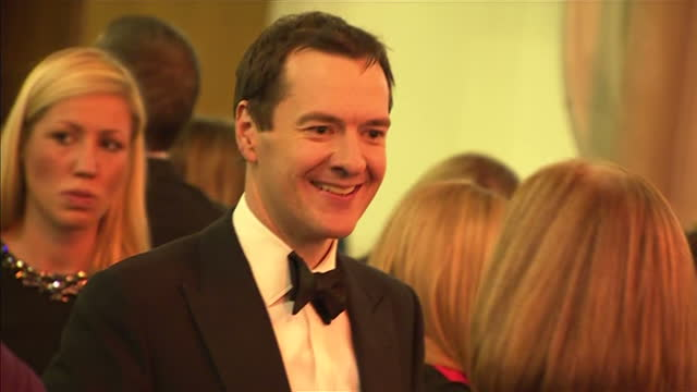 interior shots george osborne mp chancellor of the exchequer talking with guests at the 2015 booker prize award ceremony at guildhall london and... - booker prize stock-videos und b-roll-filmmaterial