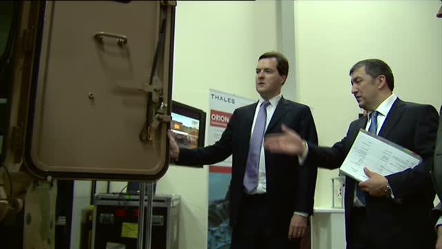 interior shots george osborne mp, chancellor of the exchequer visiting defence industry factory. george osborne visits defence industry factory on... - george osborne stock videos & royalty-free footage