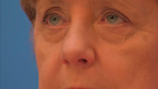 Interior shots German Chancellor and Chairwoman of the German Christian Democrats Angela Merkel Reiner Haselofft top candidate in the SaxonyAnhalt...