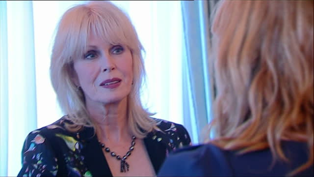 interior shots guests enjoying charity reception including actress joanna lumley prince charles hosts a reception for the samaritans charity at... - joanna lumley stock videos & royalty-free footage