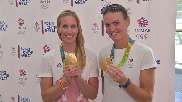 interior shots helen glover and heather stanning team gb rowers posing with rio 2016 gold medals on august 23 2016 in london england - helen glover rower stock videos and b-roll footage