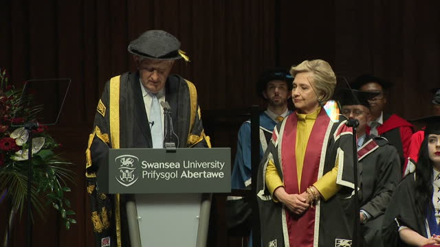 Interior shots Hillary Clinton 2016 American Presidential Candidate presented with an Honorary Doctorate of Law from Swansea University Swansea Wales...