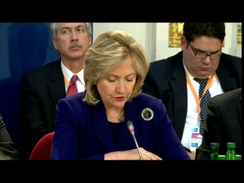 interior shots hillary clinton addresses the libya conference on the achievements of the allied intervention libya conference held in london on march... - 50 seconds or greater stock videos & royalty-free footage