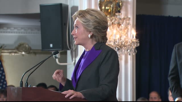 interior shots hillary clinton, former presidential candidate on stage giving speech after conceding the 2016 us election to donald trump. joined on... - defeat stock videos & royalty-free footage