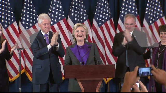 interior shots hillary clinton, former presidential candidate walks on stage to give speech after conceding the 2016 us election to donald trump. on... - presidential candidate stock videos & royalty-free footage