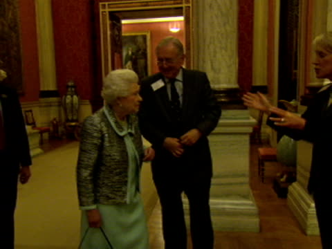 interior shots hm queen elizabeth ii talking to mps including sir peter bottomley mp for worthing west and virginia bottomley shadow secretary for... - virginia bottomley stock-videos und b-roll-filmmaterial