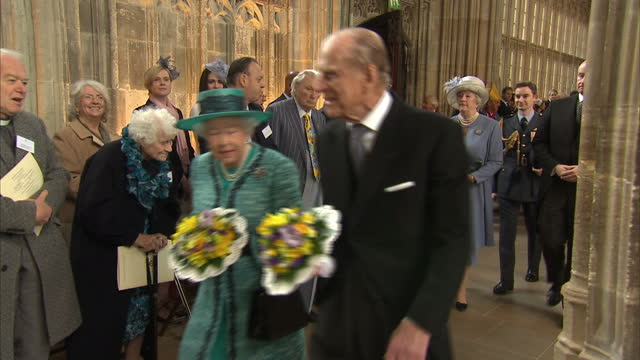 interior shots hm queen elizabeth ll and hrh prince philip, duke of edinburgh attend the royal maundy service at windsor castle on march 24, 2016 in... - anglican stock videos & royalty-free footage
