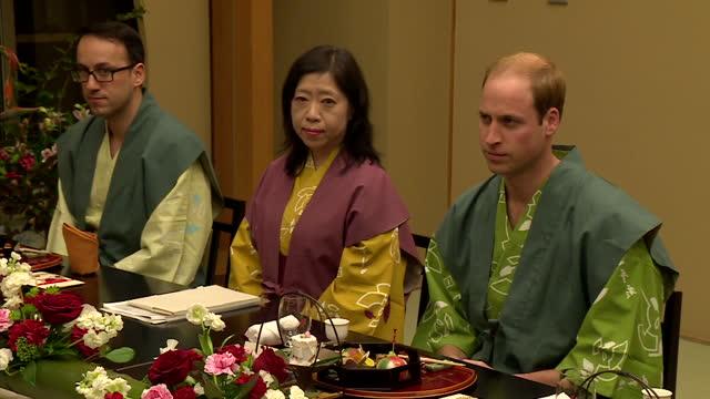 Interior shots HRH Prince William Duke of Cambridge and Japan's Prime Minister Shinzo Abe at traditional dinner on February 28 2015 in Koriyama Japan