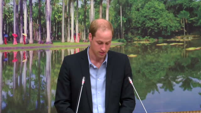Interior shots HRH Prince William Duke of Cambridge delivers speech on wildlife conservation on March 04 2015 in Xishuangbanna China