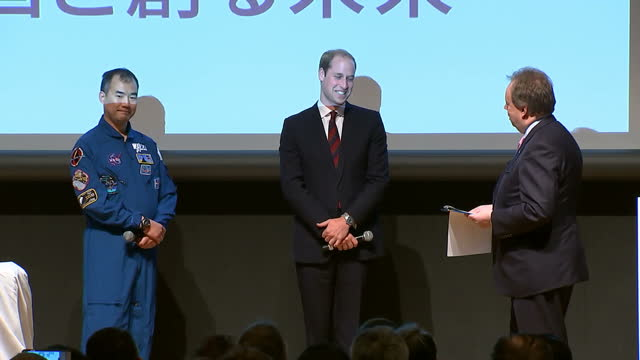 interior shots hrh prince william, duke of cambridge on stage with japanese astronaut soichi noguchi and andy palmer at sake barrel breaking... - soichi noguchi astronaut stock videos & royalty-free footage