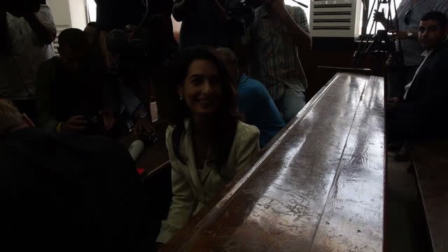Interior shots Human Rights Lawyer Amal Clooney talking to press in courtroom ahead of Al Jazeera Journalists verdict on August 29 2015 in Cairo Egypt