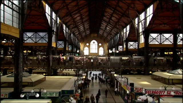 interior shots hungarian people and tourists shopping in great market hall interior shots great market hall with locals browsing through goods on... - ungarn stock-videos und b-roll-filmmaterial