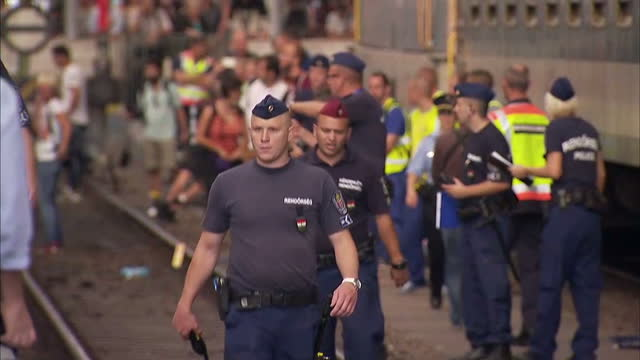 interior shots hungarian police on tracks, migrants awaiting trains, migrants, refugees on board of train at keleti station in budapest on september... - ungarn stock-videos und b-roll-filmmaterial