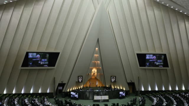 interior shots iranian parliament iranian majlis islamic consultative assembly session on july 29 2016 in tehran iran - government building stock videos and b-roll footage