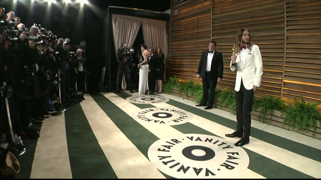 Interior shots Jared Leto with Oscar statue on red carpet on March 02 2014 in Los Angeles California