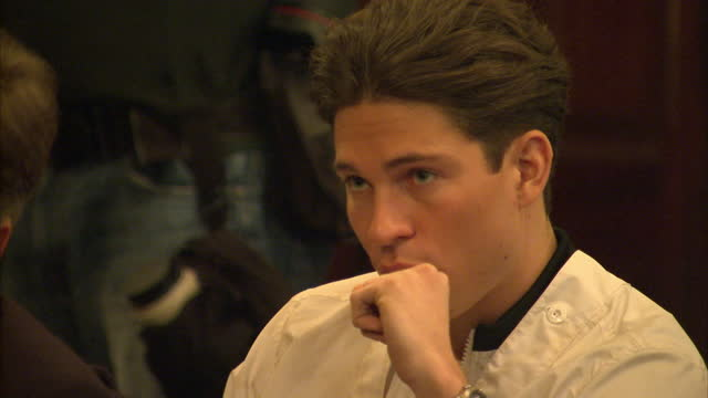 interior shots joey essex star of the only way is essex sitting listening to speech by nick clegg looking bored and restless on march 31 2015 in... - ニック クレッグ点の映像素材/bロール