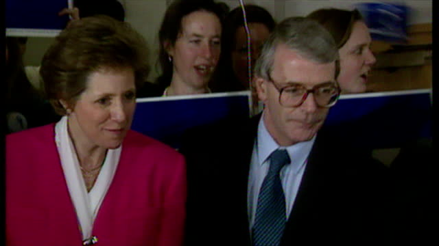interior shots john major prime minister celebrating his 1992 general election victory at the conservative party headquarters with his wife norma... - john major stock-videos und b-roll-filmmaterial