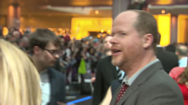 Interior shots Joss Whedon on red carpet attends premiere of 'The Avengers Age of Ultron' on April 21 2015 in London England