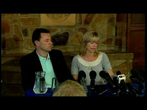 interior shots kate gerry mccann sitting before media press assembled in hotel general views kate mccann reads out statement followed by question... - madeleine mccann stock videos & royalty-free footage