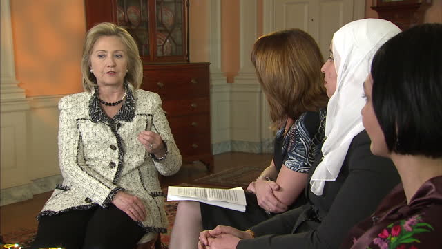 interior shots kay burley interviews hillary clinton, us secretary of state in the company of recipients of women of courage awards. hillary clinton... - interview raw footage stock videos & royalty-free footage