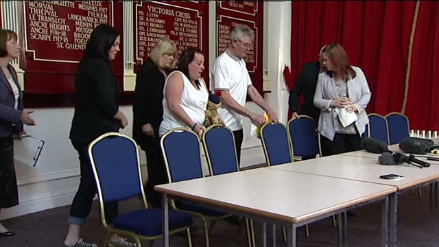interior shots lee rigby family walk into presser lee rigby tributes re woolwich murder on may 24 2013 in middleton england - lee rigby stock videos & royalty-free footage