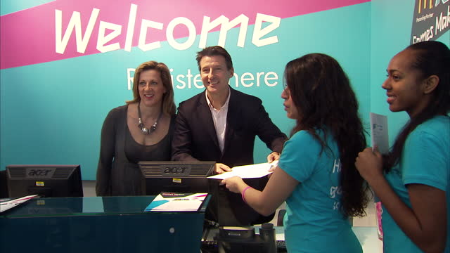 interior shots lord coe sally gunnell pose with potential london's games maker volunteers interior shots lord coe sally gunnell chat with volunteers... - 40 seconds or greater stock videos & royalty-free footage