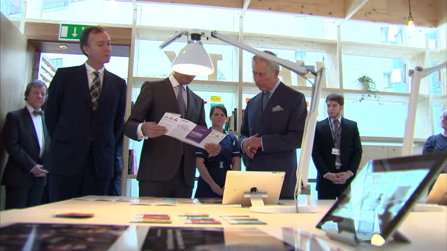 interior shots lord darzi explains to prince charles about the centre whilst hes looks at info leaflets and pictures on display table - materiale cartaceo video stock e b–roll