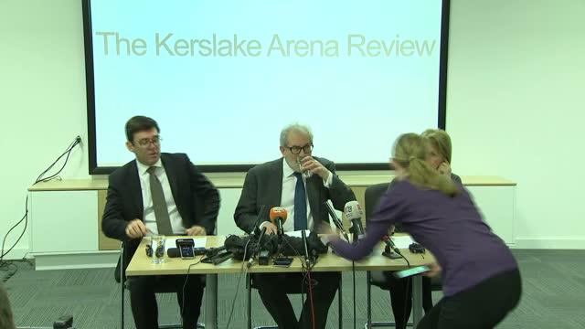 Interior shots Lord Kerslake and Andy Burnham arriving for Press Conference on Manchester Terror Attack Review Interview with Mayor of Greater...