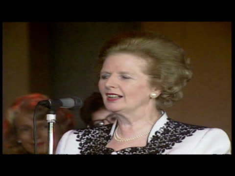 interior shots margaret thatcher speech to young conservatives at conservative party conference - 1989 stock videos & royalty-free footage