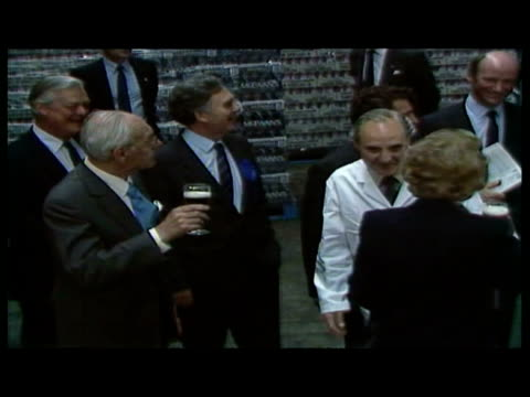 stockvideo's en b-roll-footage met interior shots margaret thatcher tours mcewan's brewery with husband dennis thatcher / interior shots thatcher drinking beer. - 1987