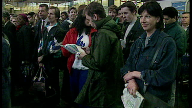 interior shots, members of the public queue to buy national lottery ticket at pre-launch event on june 6, 1994 in london, england. - lotterie stock-videos und b-roll-filmmaterial
