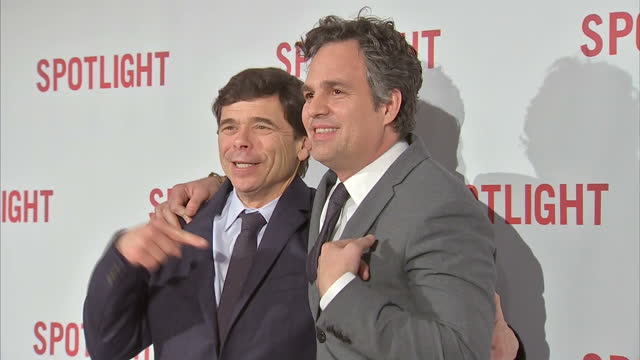 interior shots michael rezendes former boston globe reporter and mark ruffalo actor posing for photographers on spotlight premiere red carpet on... - mark ruffalo stock videos and b-roll footage