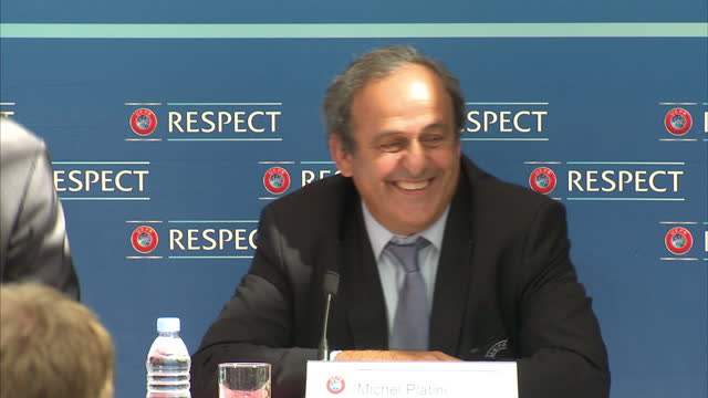Interior shots Michel Platini UEFA chief arriving for UEFA press conference Pedro Pinto Chief of Press at UEFA Gianni Infantino UEFA General...