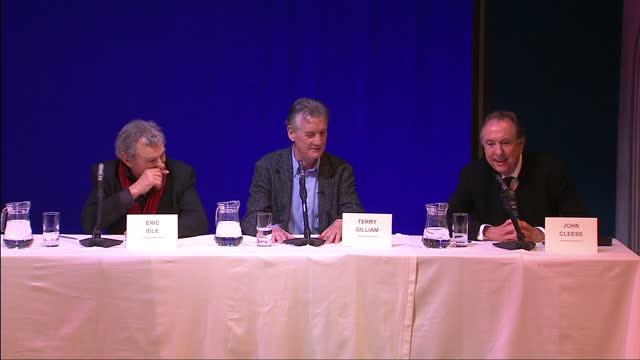 interior shots monty python team laugh & joke during a press conference to launch their reunion monty python stars announce reunion stage show on... - monty python video stock e b–roll
