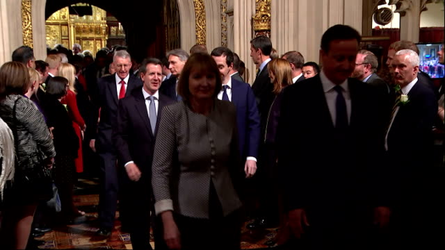 interior shots mps departing house of lords after the queen's speech mps members of parliament including prime minister david cameron harriet harman... - the queen's speech state opening of uk parliament stock-videos und b-roll-filmmaterial