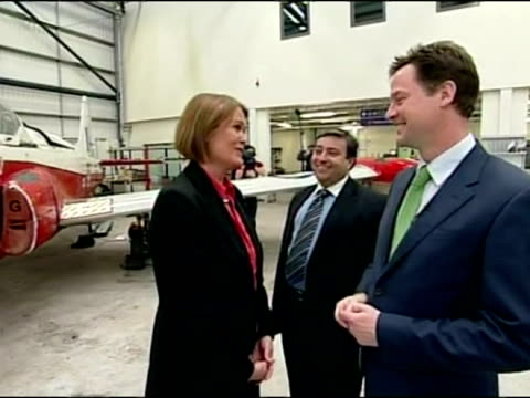 interior shots nick clegg chats & meets aviation students at the newcastle aviation academy - british liberal democratic party stock videos & royalty-free footage