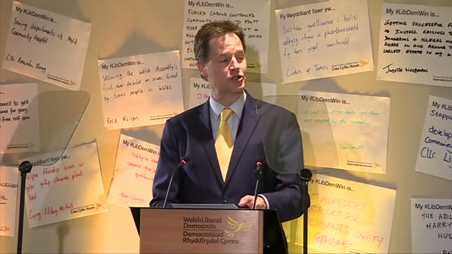 interior shots nick clegg mp deputy prime minister leader of liberal democrats delivering speech at welsh liberal democrat conference on march 03... - british liberal democratic party stock videos and b-roll footage