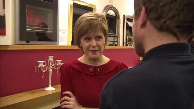 interior shots nicola sturgeon, leader of snp campaigning in ayr, visiting o'neil gas and plumbing services with snp candidate corrie wilson on april... - ayr stock videos & royalty-free footage